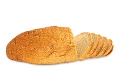 Sliced loaf of bread on white Stock Photo