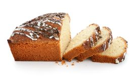Sliced loaf of sweet bread with chocolate chips Stock Image
