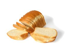 Sliced loaf of white bread. Isolated on white Stock Photo