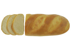 Sliced Long loaf of bread isolated on white background top view Stock Photo