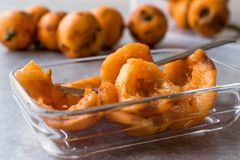 Sliced Loquat Slices Ready to Eat with Fork. Organic Food Royalty Free Stock Images