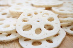 Sliced lotus root. Close up of sliced lotus root food background Royalty Free Stock Image