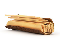 Sliced Lumber from the log. 3d illustration Royalty Free Stock Images