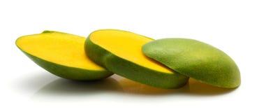 Fresh mango isolated. Sliced mango isolated on white background three slices Stock Image