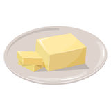 Sliced Margarine block. Baking ingredient butter stick. royalty free illustration