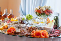 Sliced meat on banquet table Stock Photography