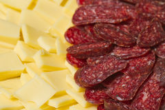 Sliced meat and cheese appetizers Stock Photo
