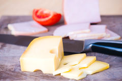 Sliced meat and cheese Stock Images