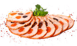 Sliced meat filled with dried apricots and raisin Royalty Free Stock Photography