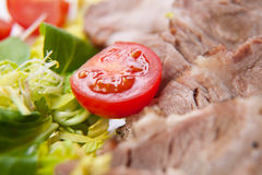 Sliced meat with fresh vegetables Stock Image