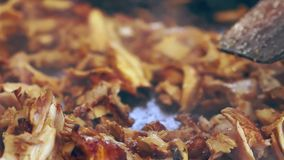 Sliced meat from a grilled Doner kebab stock footage