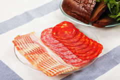 Sliced meat  on plate Royalty Free Stock Images