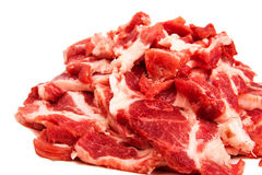 Sliced  meat. Sliced raw fresh meat isolated on white. Close-up Royalty Free Stock Image
