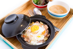 Sliced meat with rice fresh egg Stock Images