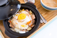 Sliced meat with rice fresh egg Royalty Free Stock Image