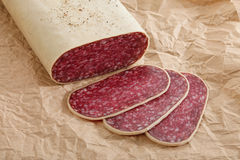 Sliced meat sausage salami Stock Photos