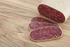 Sliced meat sausage salami Royalty Free Stock Photo