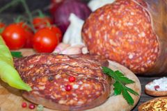 Sliced meat sausage salami Royalty Free Stock Images