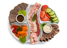 Sliced meat and vegetables Stock Image