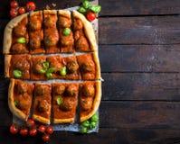 Sliced meatballs pizza Royalty Free Stock Photo