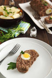 Sliced meatloaf with egg Royalty Free Stock Image