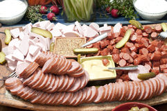 Sliced meats and cheese Royalty Free Stock Images