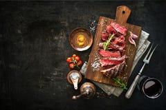 Sliced medium rare grilled beef ribeye steak royalty free stock photos
