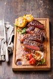 Sliced medium rare grilled Beef steak Stock Photos