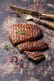 Sliced medium rare grilled Beef steak Ribeye Royalty Free Stock Image