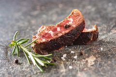 Sliced medium rare grilled steak Royalty Free Stock Photography