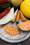 Sliced melon pieces Stock Images