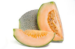 Sliced melon with seed on white (Other names are cantelope, cant Stock Photos