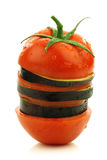 Sliced and mixed  tomato and Surinam aubergine Stock Photos