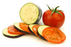Sliced and mixed  tomato and Suriname aubergine Stock Photos