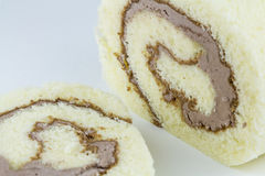 Sliced mocha roll cake Stock Images
