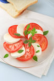 Sliced Mozzarella And Tomato Royalty Free Stock Photography