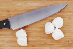 Sliced mozzarella with knife Royalty Free Stock Image