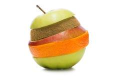 Sliced multifruit. Multifruit made of sliced pear,apple,kiwi and orange. On the white background Royalty Free Stock Photography