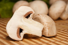 Sliced in half mushroom closeup Royalty Free Stock Image