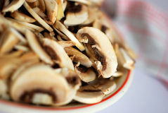 Sliced mushrooms Stock Images