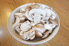 Sliced Mushrooms. A bowl of sliced mushrooms royalty free stock image