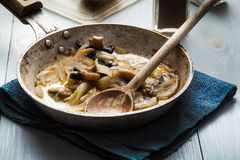 Sliced mushrooms with onion on a pan Stock Images