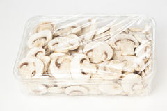 Sliced mushrooms packaged Stock Photo