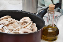 Sliced mushrooms in a pan Royalty Free Stock Photo