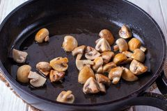 Sliced mushrooms stir-fried in a pan. close-up. Horizontal royalty free stock photos