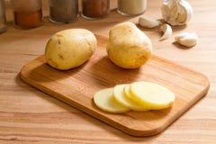 Sliced new potatoes. Royalty Free Stock Image