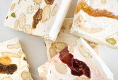 Sliced nougat. Close-up pieces of sliced delicious nougat from Cassis Stock Photos