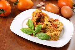 Sliced omelette Stock Image