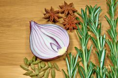 Onion with herbs. Sliced onion with herbs and cardamon stock image