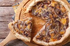 Sliced onion pie with cheese Horizontal top view Stock Photo